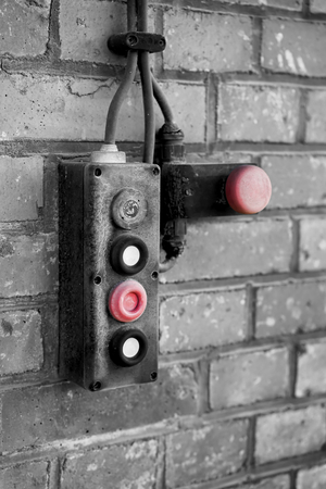 industrial wasteland: emergency switch on the abandoned port area in Magdeburg Stock Photo
