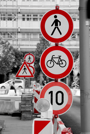 cordoned: traffic signs at a construction site in downtown Berlin