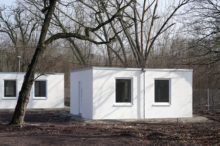 prefabricated house: newly built refugee shelters on the outskirts of Magdeburg in Germany Stock Photo