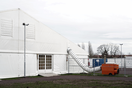 provisional: makeshift refugee camp in tents for refugees in Magdeburg in Germany