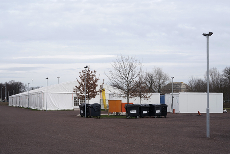 makeshift refugee camp in tents for refugees in Magdeburg in Germany