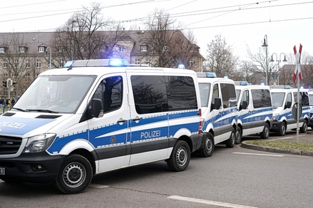 roadblock: MAGDEBURG, GERMANY - MARCH 05, 2016: roadblock by the police after a football match of 1.FC Magdeburg against FC Hansa Rostock in Magdeburg