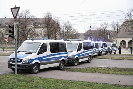special operations: MAGDEBURG, GERMANY - MARCH 05, 2016: roadblock by the police after a football match of 1.FC Magdeburg against FC Hansa Rostock in Magdeburg