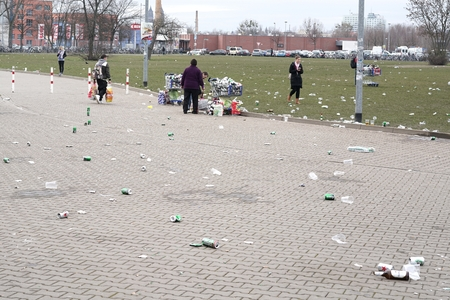 disposed: MAGDEBURG, GERMANY - MARCH 05, 2016: waste trouble in front of a soccer stadium during the football game against 1.FC Magdeburg FC Hansa Rostock in Magdeburg