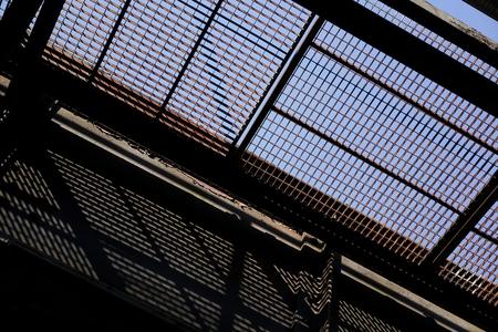 from below: old disused railway bridge seen from below