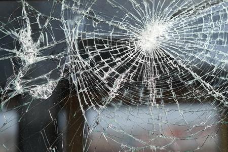 vernietigd raam van een treinwagon Stockfoto