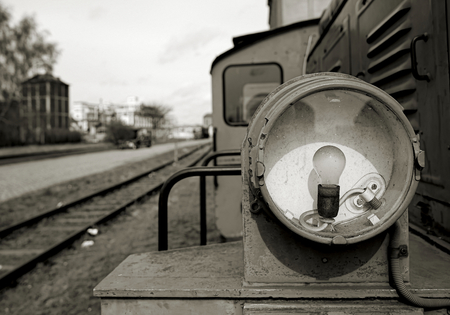 luminance: Headlight of a historic locomotive in the port of Magdeburg