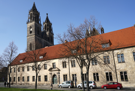 MAGDEBURG, GERMANY - April 2, 2016: the historic Magdeburg Cathedral, the landmark of the city. Editorial