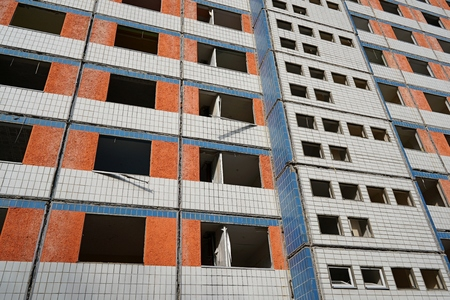 deconstruction: demolition of a residential building in Magdeburg Stock Photo
