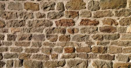 botched: natural stone masonry in the center of Magdeburg Stock Photo