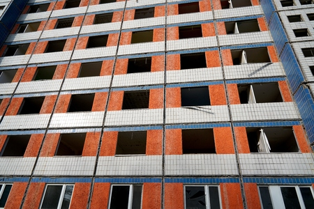 prefab: demolition of a vacant apartment building in Magdeburg Stock Photo