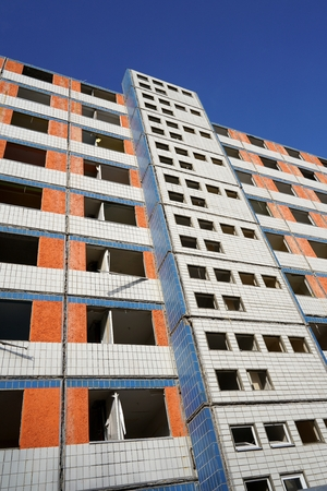 vacant: demolition of a vacant apartment building in Magdeburg Stock Photo