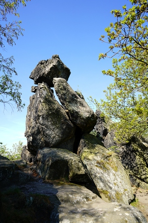 rockclimbing: Devils Wall at Timmenrode in the Harz national park Stock Photo