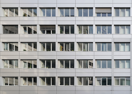 window shade: MAGDEBURG, GERMANY - FEBRUARY 13, 2016: Detail of office building in the center of Magdeburg Editorial