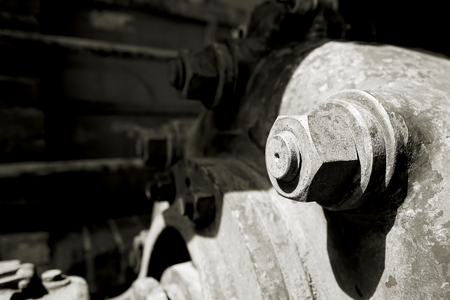 industrially: Bolt with nut in an abandoned factory Stock Photo