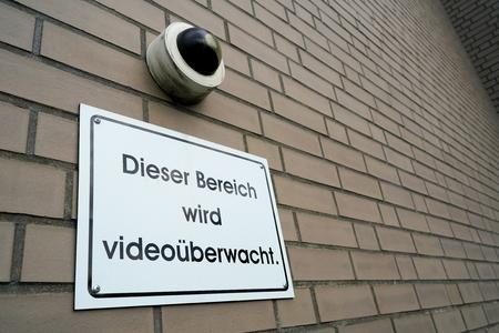 under surveillance: This area is under video surveillance Stock Photo