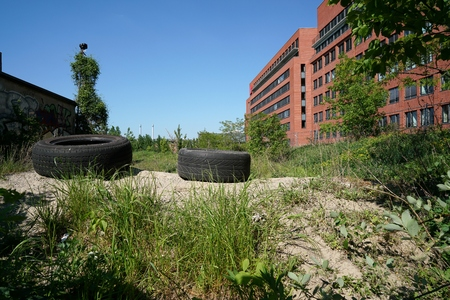 wasteland: industrial wasteland with garbage in Berlin-Kreuzberg