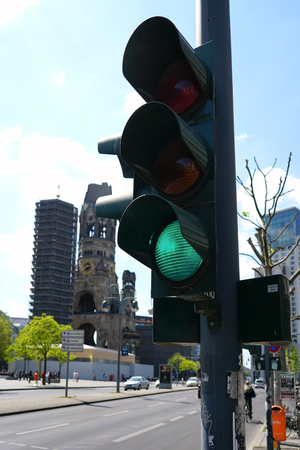 hectic life: green traffic light at at intersection in Berlin Stock Photo