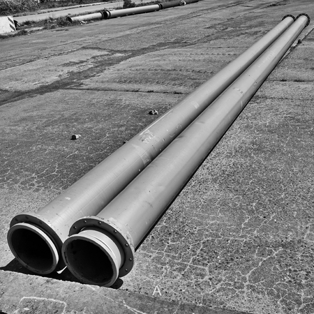 building sector: Pipes in an open space in Berlin Stock Photo