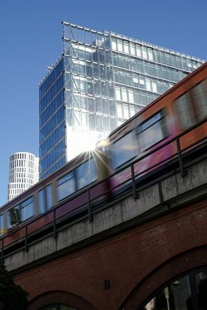 Suburban train in the city center of Berlin Stock Photo