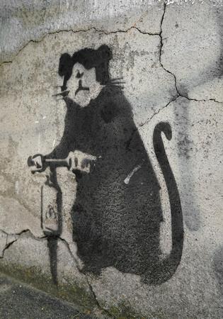 impermanent: BERLIN, GERMANY - MAY 12, 2016: Street art of an unknown artist on a facade in Berlin