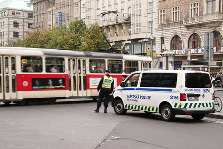 presence: CZECH REPUBLIC, PRAGUE � � OCTOBER 18, 2016: Intensified police presence in the inner city of Prague. Since Prague is Considered as a possible attack target, the police presence which Increased.