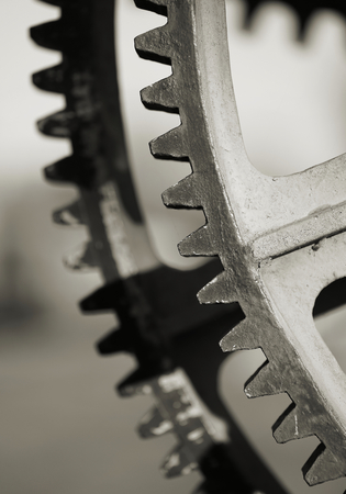 Gears of a historic crane in the port of Magdeburg