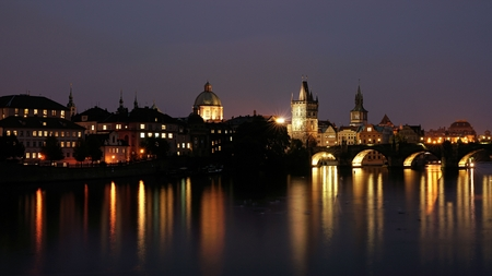 charles bridge: Cityscape of Prague with Charles Bridge at night