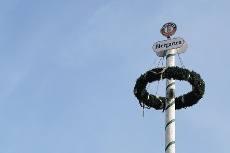 beer garden: MAGDEBURG, GERMANY November 23, 2016: Maypole of the brewery Erdinger at a beer garden on the banks of the river Elbe in Magdeburg Editorial