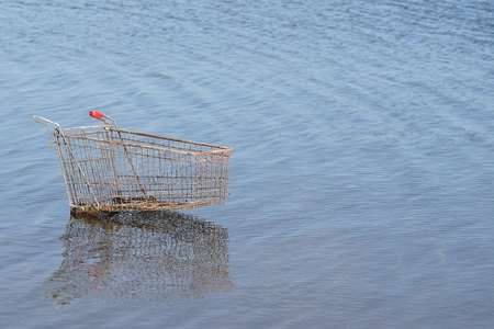 disposed: Shopping cart in a lake near Magdeburg Stock Photo