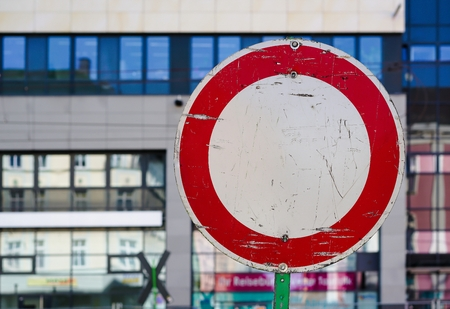 Traffic sign in the city center of Magdeburg