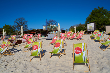 MAGDEBURG, GERMANY – APRIL 19, 2016: beach bar on the banks of the river Elbe in Magdeburg. The beach bar is one of the most popular tourist destinations in the summer.