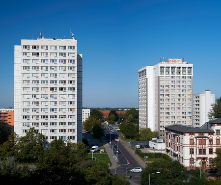 MAGDEBURG, GERMANY - AUGUST 28, 2017: Cityscape of Magdeburg with two marked residential buildings