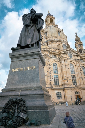 DRESDEN, GERMANY - OCTOBER 12, 2017: Monument of Martin Luther in front of the Frauenkirche on the Neumarkt in Dresden