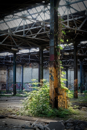Dilapidated factory hall at an abandoned factory in Magdeburg