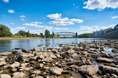 The river Elbe in Magdeburg at low tide due to a hot summer Banco de Imagens