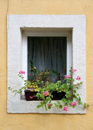 Window of a Rathen in the Elbe Sandstone Mountains Banque d'images