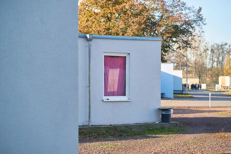 Emergency accommodation for refugees at the edge of the city of Magdeburg in Germany Banco de Imagens