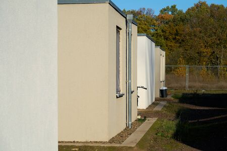 Emergency accommodation for refugees at the edge of the city of Magdeburg in Germany Standard-Bild