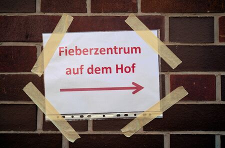 Sign in Germany with the inscription  Test Center on the courtyard