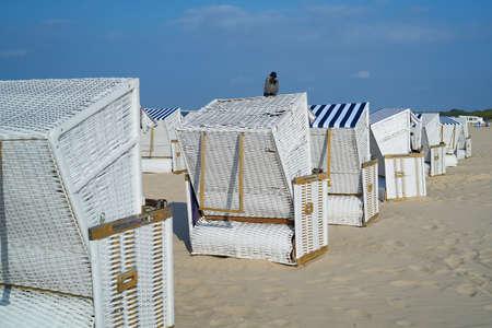 Beach chairs on the beach of Swinoujscie on the Baltic Sea in Poland Standard-Bild