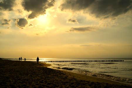 Beach near Rewal in Poland at sunset Standard-Bild