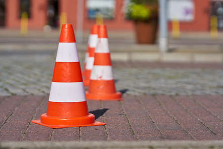 Barrier with traffic cones at a road construction site in Swinoujscie in Poland