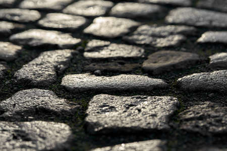 Cobbles of a street at sunset
