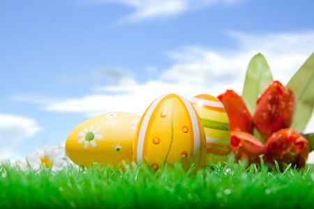 Closeup of three easter eggs on a well-kept lawn in front of blue cloudy sky Stock Photo - 12871276