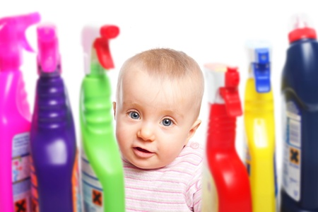 household accident: Attention baby wants to play with cleaner