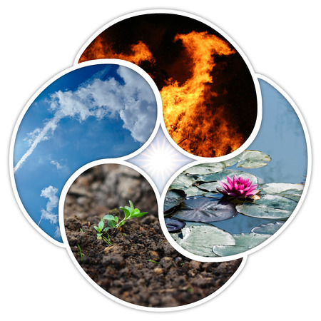 quadruple: The four elements of nature: fire, water, earth, air. Designed in a quadruple yin yang symbol. Stock Photo