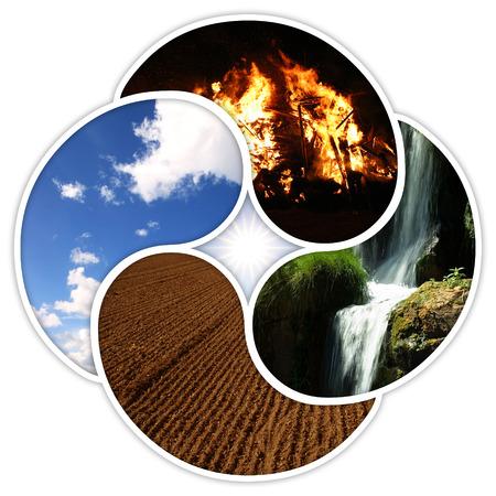 Die vier Elemente der Natur: Feuer, Wasser, Erde, Luft