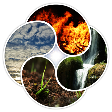 The four elements of nature: fire, water, earth, air. Designed in a quadruple yin yang symbol. Banco de Imagens