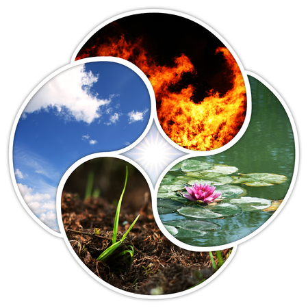 A quadruple yin yang symbol with the four elements of nature: fire, water, earth, air.